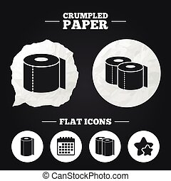 Toilet paper icons Kitchen roll towel symbols - Crumpled...