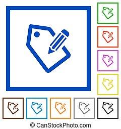 Tagging framed flat icons - Set of color square framed...