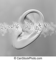 3D close up of ear with music notes