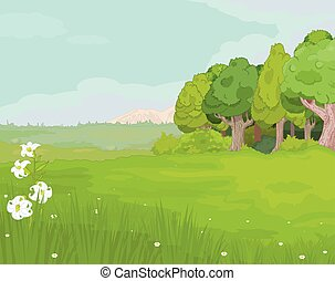 Landscape.eps - Illustration of idyllic mountain landscape