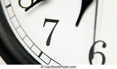 White wall clocks running.