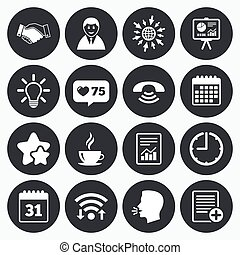 Office, documents and business icons - Calendar, wifi and...