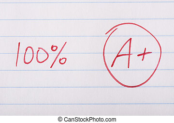 A plus 100 percent grade - A plus (A+) grade with 100...