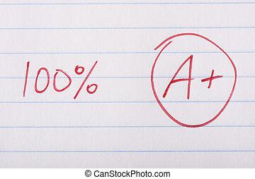 A plus 100 percent grade - A plus A+ grade with 100 percent...