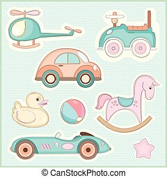Set of childrens toys - Vector illustration of a set of...