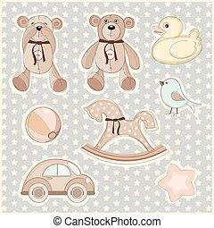 Set of children's toys - Vector illustration of a set of...