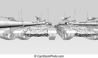 Infimite army tanks row, wide angle sketch animation. Seamless loopable 4K clip