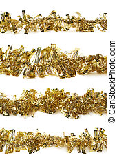 Line of a tinsel garland isolated - Line of a golden tinsel...