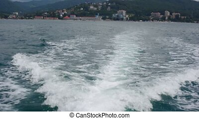 health resort mountain sea shore, view from going out boat