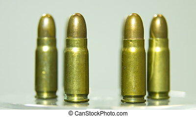 Macro shot of 9 mm handgun Bullets.