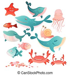 Sea inhabitants set - Vector illustration of a sea...