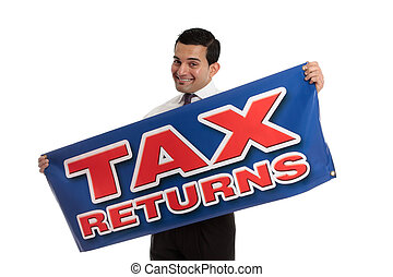 Accountant or tax agent with sign - An accountant, tax...