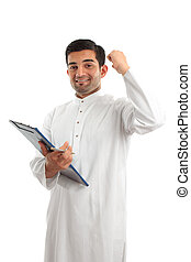 Arab businessman victory success - A middle eastern mixed...