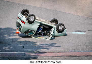 Terrific car accident with car destroyed and overturned