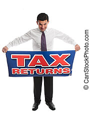 Businessman with a sign - Business man, accountant or taxman...
