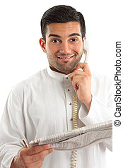 Happy businessman with financial newspaper - Happy...
