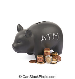 Ceramic piggy bank container isolated - Word ATM written...