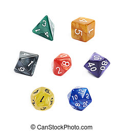 Set of roleplaying dices isolated