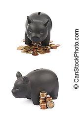 Ceramic piggy bank container isolated - Black ceramic piggy...