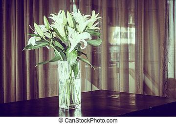 Vase flower on table decoration in room - Vintage Filter