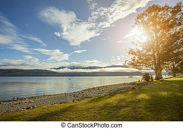 beautiful sceninc of lake te anau important traveling...