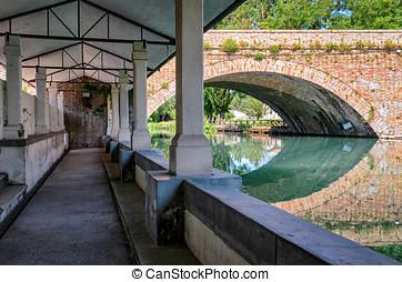 Bevagna Lavatoio sul fiume Clitunno ancient wash-house near...