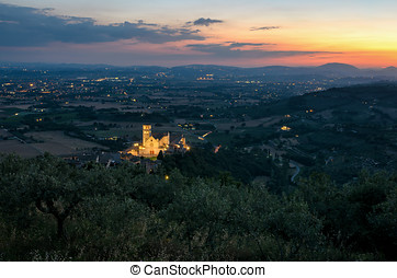 Assisi Umbria Basilica di San Francesco at sunset