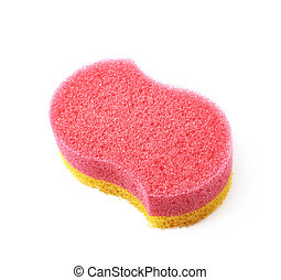 Bath sponge isolated - Red and yellow colored bath sponge...