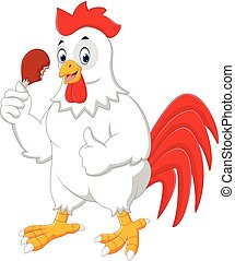 Cartoon rooster eating fried chicken