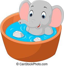 cute elephant - Illustration of cute elephant takes bath