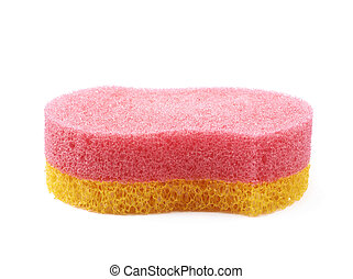 Bath sponge isolated - Red and yellow bath sponge isolated...