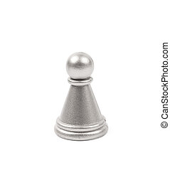 Silver pawn chess figure isolated
