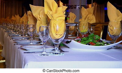 wedding dinner, beautiful table set - Decorated table for a...