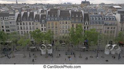 View to Paris from upper floor of Pompidou Centre - PARIS,...