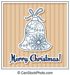 Merry Christmas card on cardboard with toy - Vector merry...