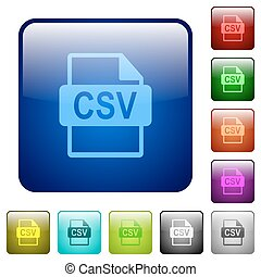Color CSV file format square buttons - Set of CSV file...