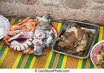 Food and seafood of Sacrificial offering Chinese Culture for...