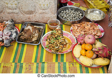 Food set and fruit of Sacrificial offering Chinese Culture...