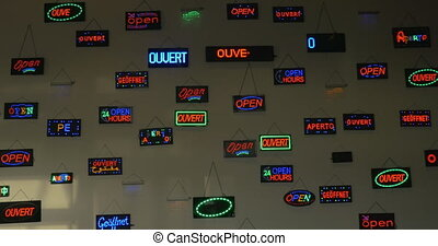 Exposition of LED displays with open text in different...