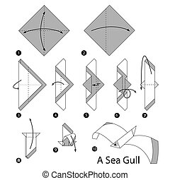 origami A Sea Gull - step by step instructions how to make...