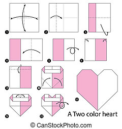 origami A Two Color Heart - step by step instructions how to...
