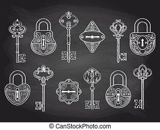 Vintage locks and keys on chalkboard - Set of hand drawn...