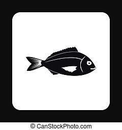 Saltwater fish icon, simple style - Saltwater fish icon in...