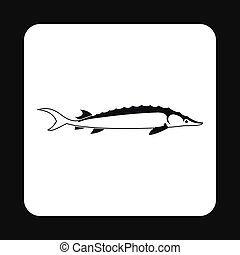Stellate fish icon, simple style - Stellate fish icon in...