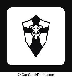 Combat shield with pattern icon, simple style