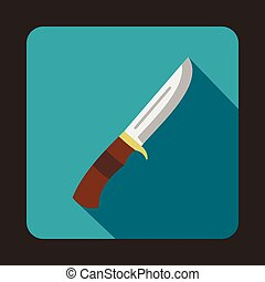 Hunting knife icon, flat style - Hunting knife icon in flat...