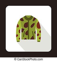 Camouflage hunting jacket icon, flat style