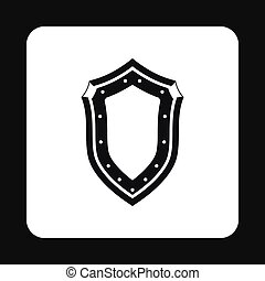 Protective shield with pattern icon, simple style