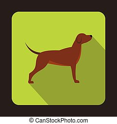 Hunting dog icon, flat style - Hunting dog icon in flat...