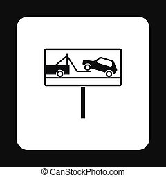 Sign evacuation of cars to impound yard icon in simple style...